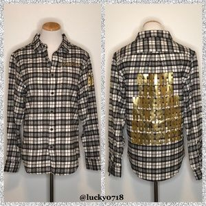 SoulCycle White/Black/Gold Plaid Flannel Sz S